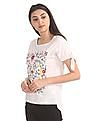 Cherokee Floral Embroidered Cold Shoulder Top