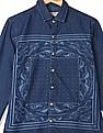 Ed Hardy Printed Front Long Sleeve Denim Shirt