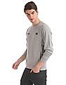Flying Machine Grey Brand Print Heathered Sweatshirt