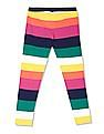 U.S. Polo Assn. Kids Multi Colour Girls Striped Knit Leggings