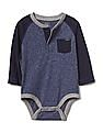 GAP Baby Blue Stripe Pocket Henley Bodysuit