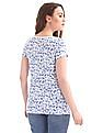 GAP Women Blue V Neck Printed Tee