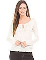 Aeropostale Embroidered Yoke Smocked Hem Top