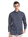 Excalibur Blue Mitered Cuff Vertical Stripe Shirt