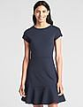 GAP Women Blue Fit and Flare Peplum Dress in Ponte