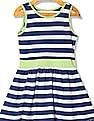 U.S. Polo Assn. Kids Girls Striped Sleeveless Fit And Flare Dress