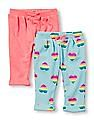 The Children's Place Baby Girls Solid And Rainbow Heart Knit Pants - Pack of 2