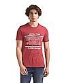 Flying Machine Red Crew Neck Printed T-Shirt