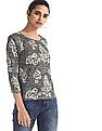Flying Machine Women Grey Floral Pattern Boxy Top