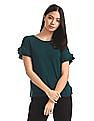 Elle Studio Green Ruffled Sleeve Solid Top