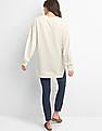 GAP Women White Hi Low Fleece Sweatshirt