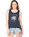 Flying Machine Women Side Knot Printed Tank Top