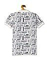 U.S. Polo Assn. Kids White Boys Text Print Pique Polo Shirt
