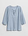 GAP Popover Stripe Split-Neck Top In Tencel™